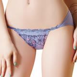 【思薇爾】啵時尚花漾女神系列M-XL蕾絲刺繡低腰三角內褲(鋯石藍)
