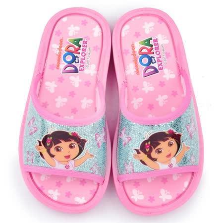 童鞋城堡-朵拉 中童 銀蔥小花拖鞋DR2932-粉