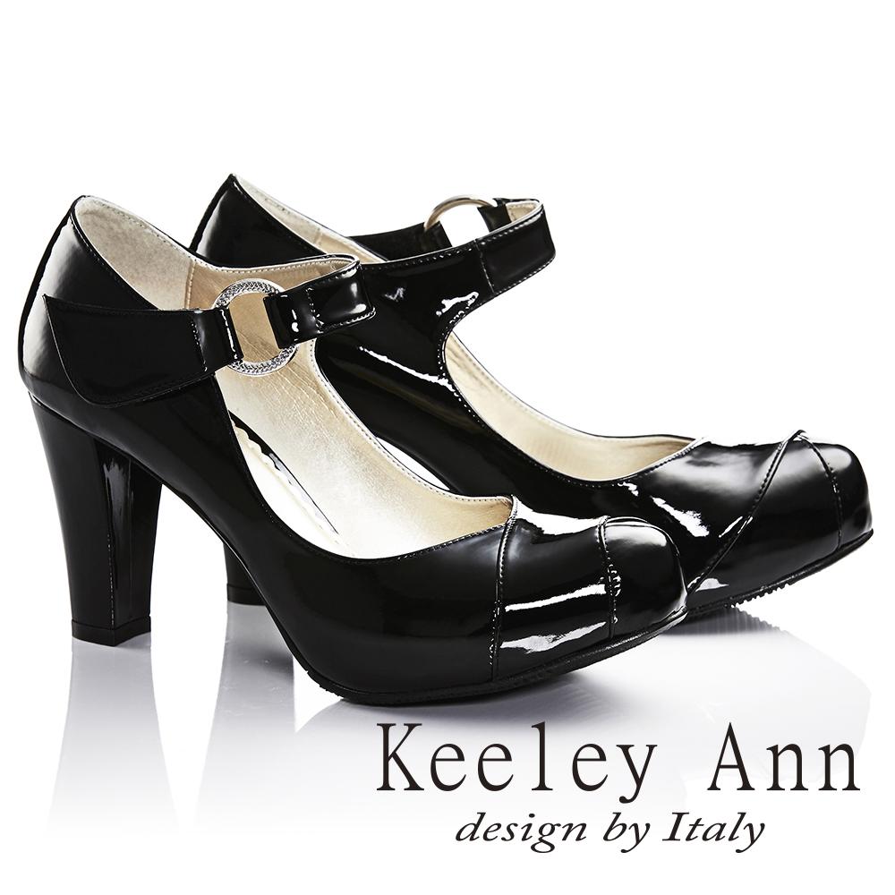 Keeley Ann年代風華~復古好萊塢光感亮澤瑪莉珍高跟鞋 黑色735093110