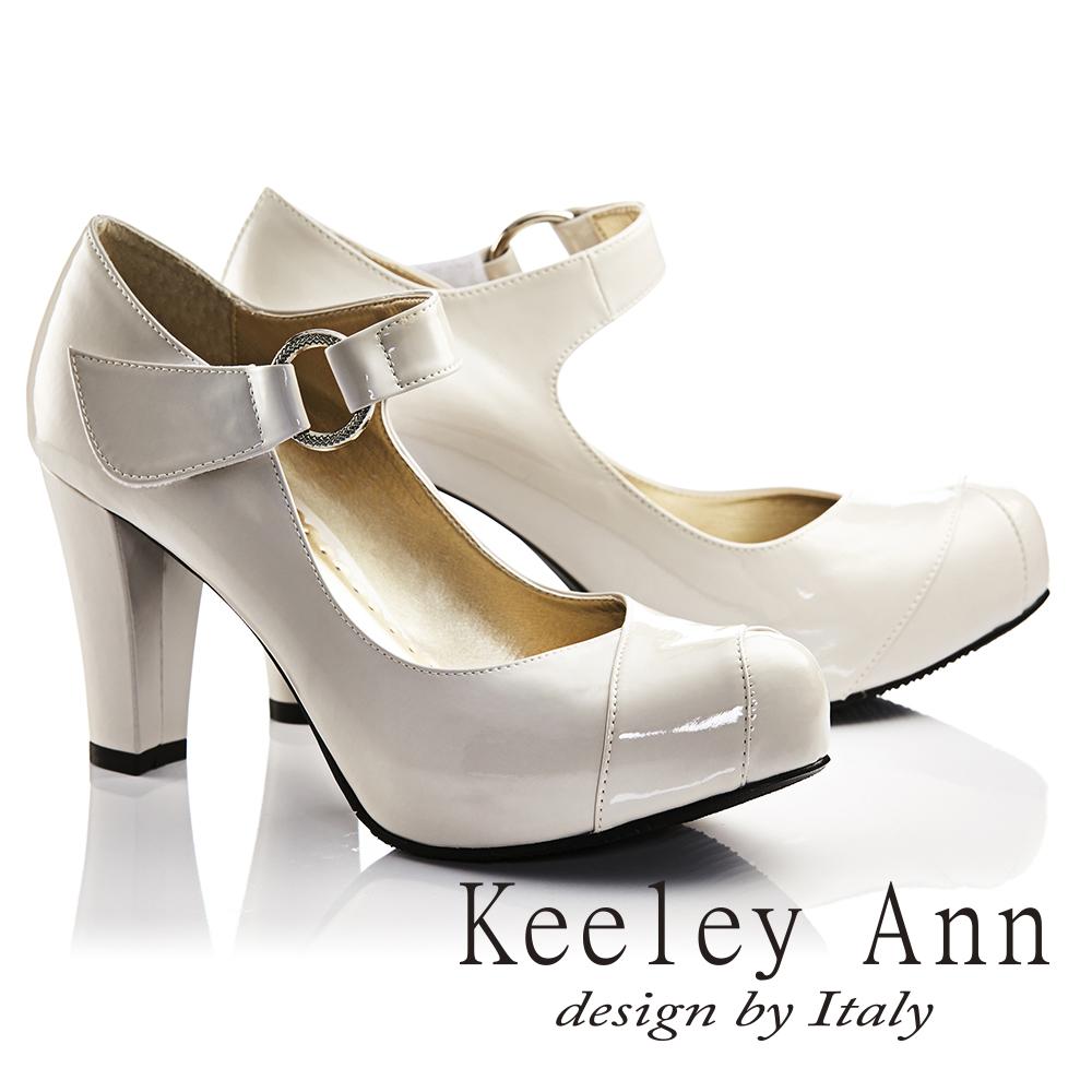 Keeley Ann年代風華~復古好萊塢光感亮澤瑪莉珍高跟鞋 米色735093130