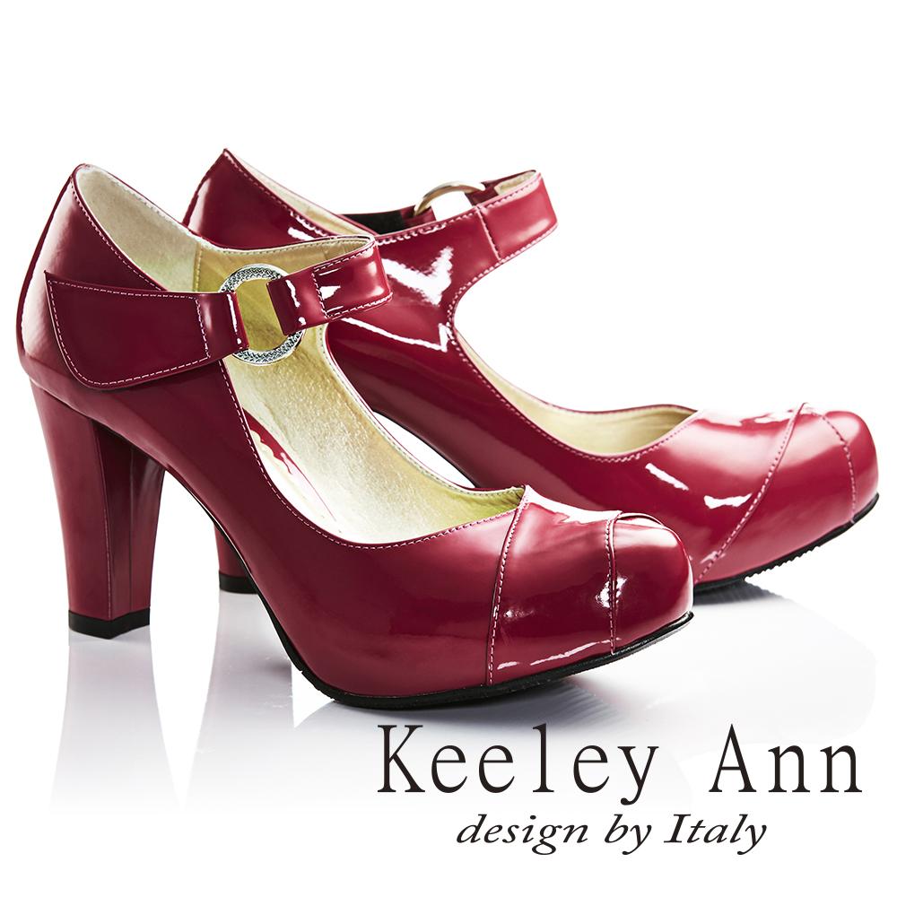 Keeley Ann年代風華~復古好萊塢光感亮澤瑪莉珍高跟鞋 桃紅色735093153