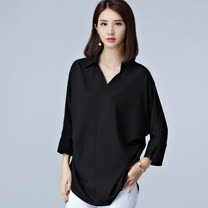 【Stoney.ax】韓版魅力 輕鬆百搭V領七分袖襯衣-黑色