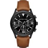 Michael Kors MK Gareth 三眼計時手錶-黑x咖啡/42mm MK8450