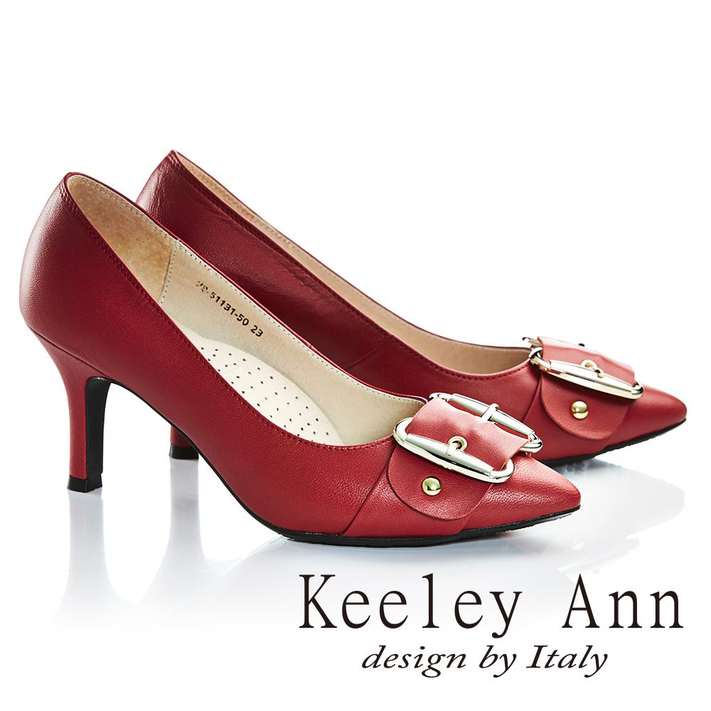 Keeley Ann優雅迷人~寬皮帶 飾釦全真皮高跟鞋 紅色735113150