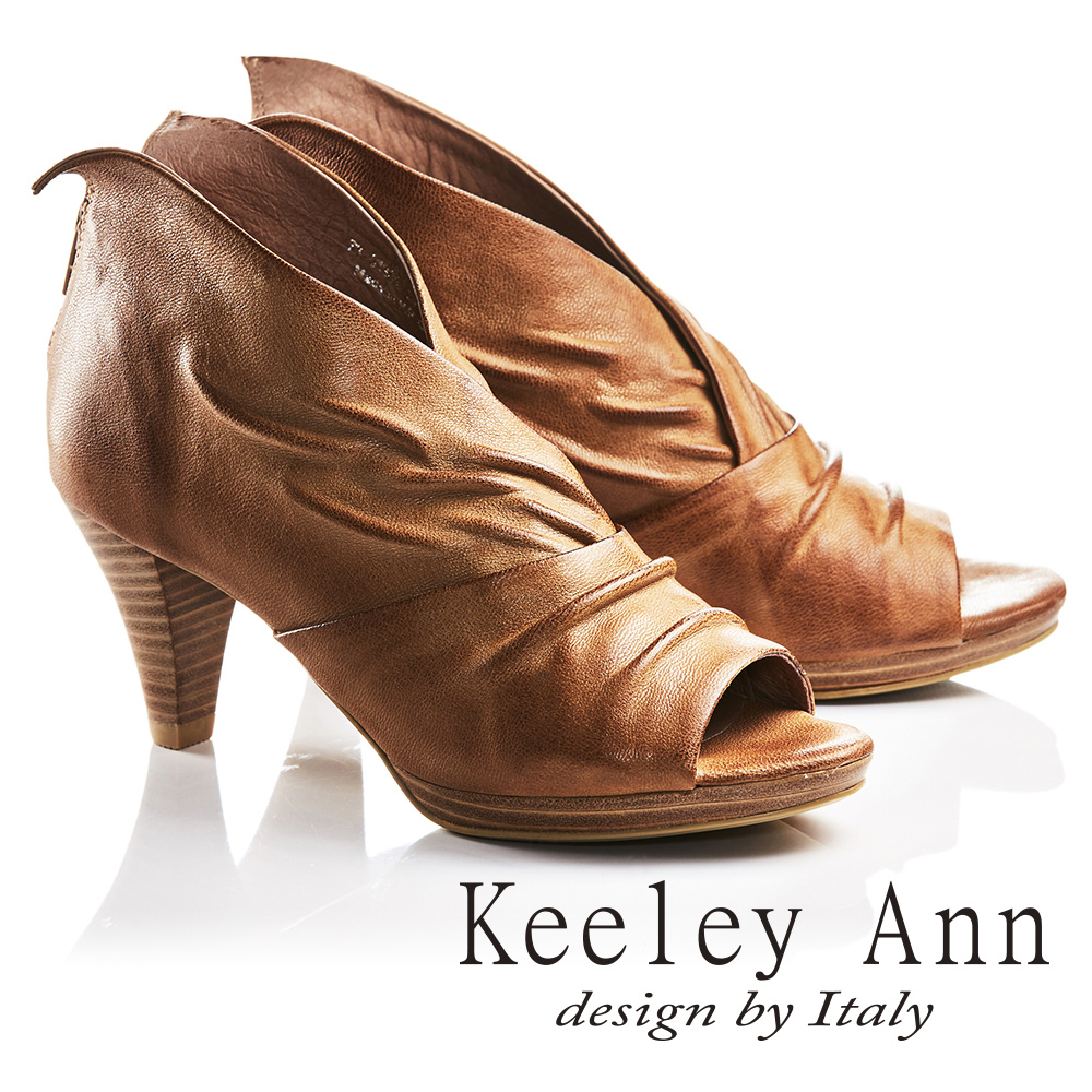 Keeley Ann獨立性格~時髦 抓皺V字型全真皮魚口高跟鞋 棕色735138125