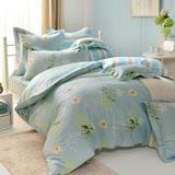 義大利La Belle 雙人純棉防蹣抗菌吸濕排汗兩用被床包組-水漾花畔