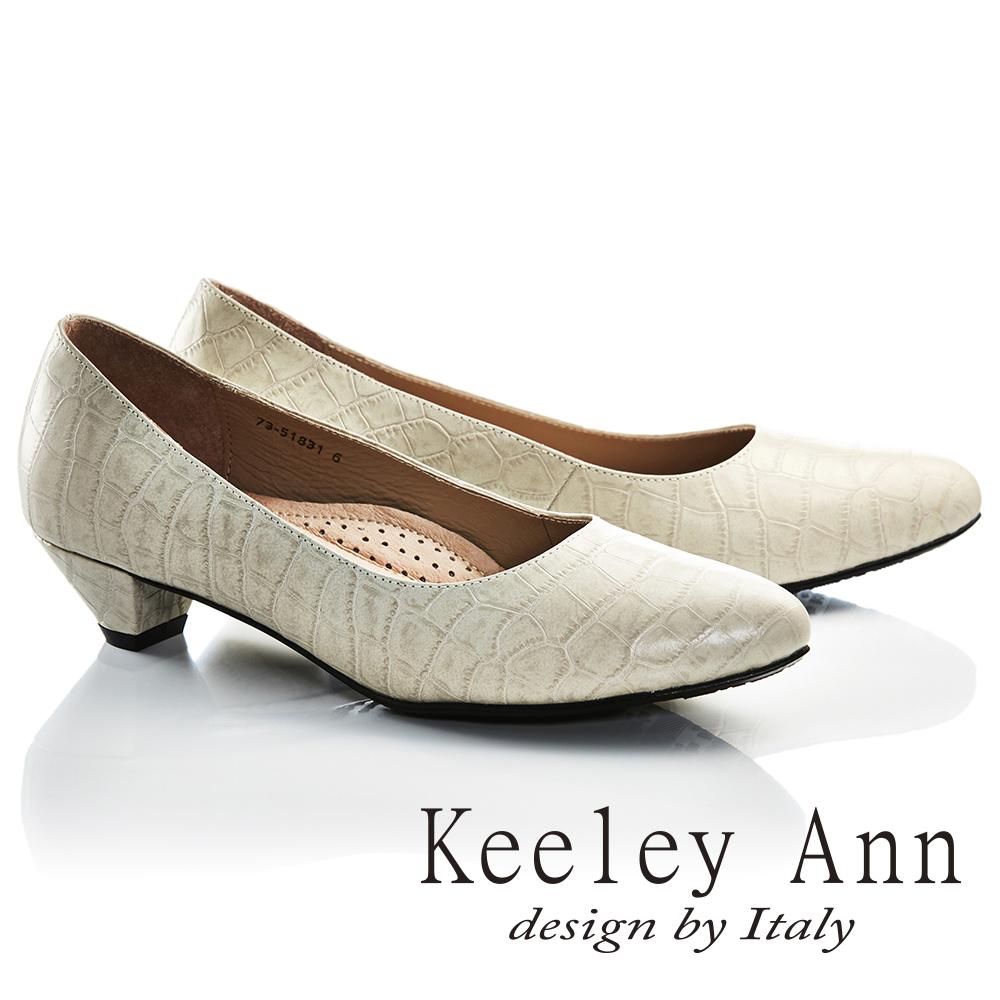 Keeley Ann通勤 ~素面 石頭紋OL全真皮中跟鞋 白色735183140