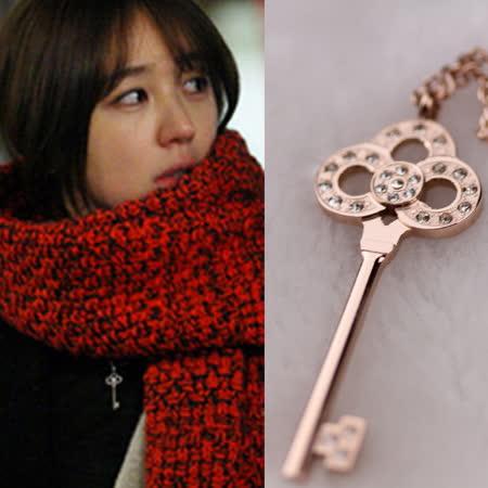 【米蘭精品】玫瑰金純銀項鍊 鑲鑽吊墜-精緻鑰匙時尚情人節禮物飾品71x44