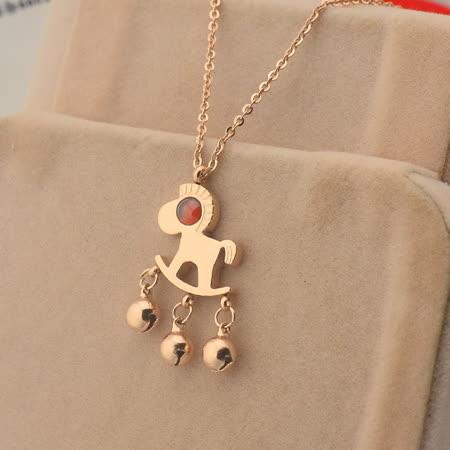【米蘭精品】玫瑰金純銀項鍊吊墜-紅瑪瑙可愛小馬生日禮物飾品71x59