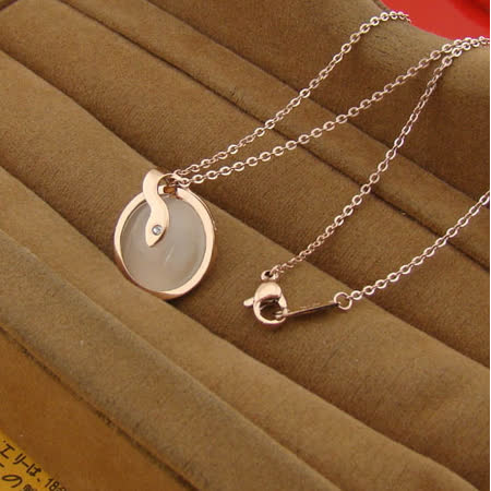 【米蘭精品】玫瑰金純銀項鍊吊墜-精美貓眼石時尚生日禮物飾品71x77