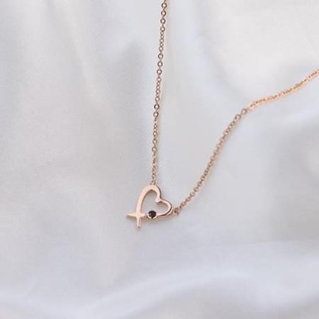 【米蘭精品】玫瑰金項鍊 純銀鑲鑽吊墜-精美生日禮物時尚愛心流行飾品71x126
