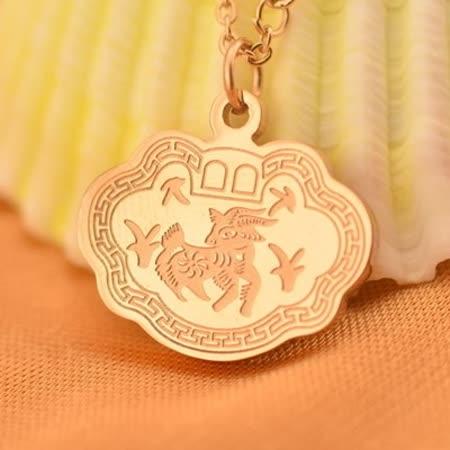 【米蘭精品】玫瑰金項鍊 純銀吊墜-山羊長命鎖精選生日禮物飾品71x160