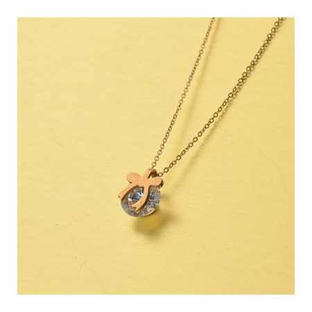 【米蘭精品】玫瑰金純銀項鍊 鑲鑽吊墜-精巧時尚蝴蝶結生日禮物飾品71x165
