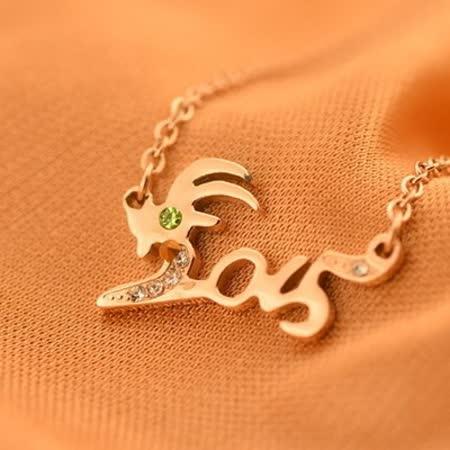 【米蘭精品】玫瑰金純銀項鍊 鑲鑽吊墜-精美個性山羊情人節禮物流行飾品71x169