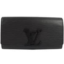 Louis Vuitton LV M60767 Louise EPI水波紋皮革發財包扣式長夾.黑 _預購