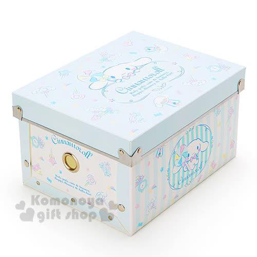 〔小禮堂〕大耳狗 塑膠折疊收納箱~S.藍.棒棒糖~附蓋.可放A5尺寸