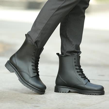 歐美時尚型男馬丁雨鞋 工作鞋 防水 耐磨 -黑色