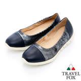Travel Fox 金屬拼接質感娃娃鞋-917312-(藍-047)(女)