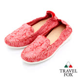 Travel Fox 舒適布料輕巧懶人鞋-917313-(紅-004)(女)