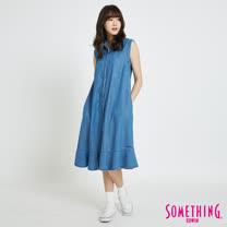 SOMETHING 連身無袖襯衫魚尾裙-女-拔洗藍