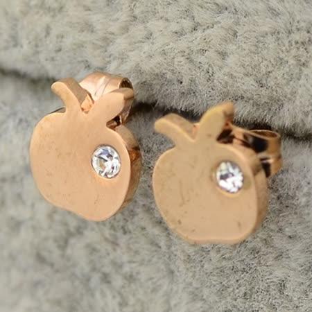 【米蘭精品】玫瑰金耳環 鑲鑽純銀耳飾-可愛小蘋果時尚母親節生日情人節禮物女飾品71at62