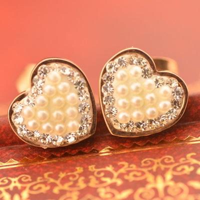 【米蘭精品】玫瑰金耳環 鑲鑽純銀耳飾-精美珍珠愛心母親節生日情人節禮物女飾品71at80