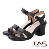 TAS 雙繫帶鏤空踝扣帶粗跟涼鞋-韓系黑