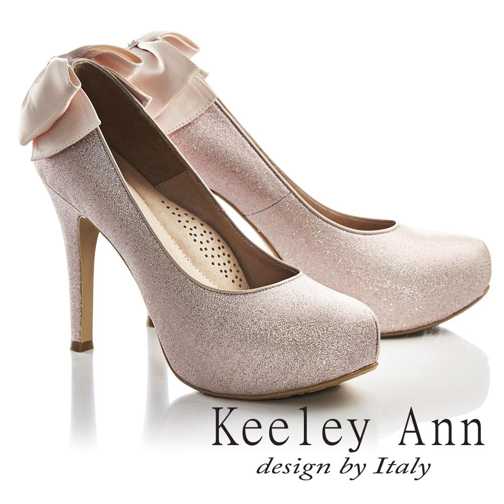 Keeley Ann浪漫滿分~後蝴蝶結真皮軟墊新娘高跟鞋 粉紅色735388356