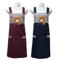 快樂熊電繡口袋圍裙GS561-藍紅二入任組