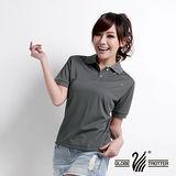 【遊遍天下】台灣製女款抗UV涼爽吸濕排汗機能POLO衫(灰 品特)