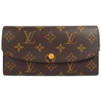 Louis Vuitton LV M64301 EMILIE 新款經典花紋扣式零錢長夾.黃 現貨