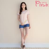 Pink* 品牌蠟筆風彩虹T(附別針) F2304AT