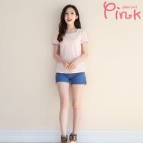 Pink* 側邊蕾絲甜美風短褲 F4504AT
