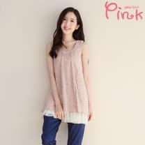 Pink* 花草印花無袖上衣(附內搭) F6202AD