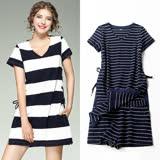 【M2M】V領條紋抽繩開衩洋裝+短褲套裝(共二色)