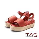 TAS 繫帶銀扣環麻底楔型涼鞋-火鶴紅