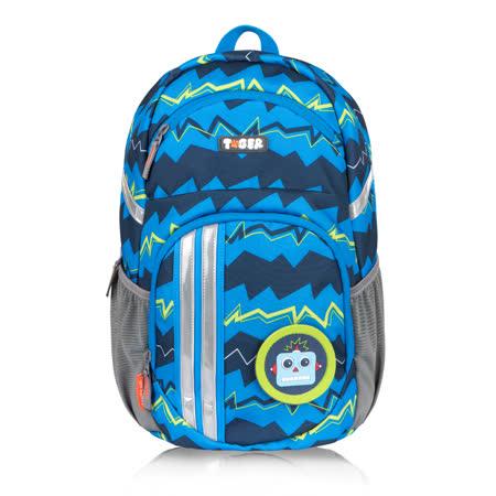 TigerFamily躍動護脊休閒書包-藍色條紋