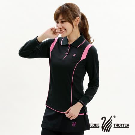 【遊遍天下】MIT台灣製女款抗UV吸濕排汗POLO長衫L127黑色