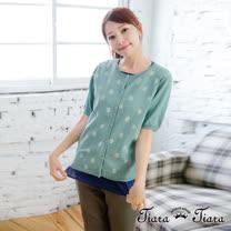 【Tiara Tiara】激安 水玉點點拓印純棉排釦罩衫外套(綠底)