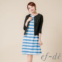 【ef-de】激安 素面拉鍊七分袖西裝外套(黑)