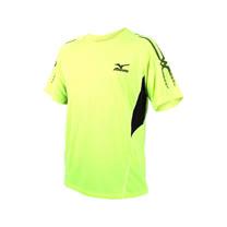 (男) MIZUNO 短袖T恤-短T 慢跑 路跑  美津濃 螢光黃黑