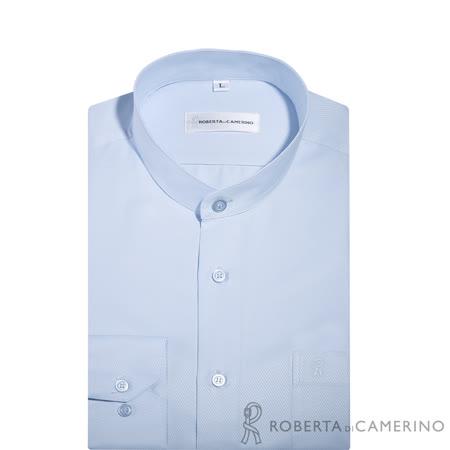 ROBERTA諾貝達 台灣製 吸溼速乾防汙 圓領條紋長袖襯衫 淡藍