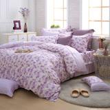 MONTAGUT-芬芳田園(紫)-200織紗精梳棉-鋪棉床罩組(特大)