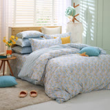 MONTAGUT-芬芳田園(藍)-200織紗精梳棉-鋪棉床罩組(雙人)