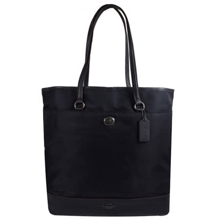 COACH 馬車LOGO尼龍皮革拼接肩背直式購物包.深藍 F57903