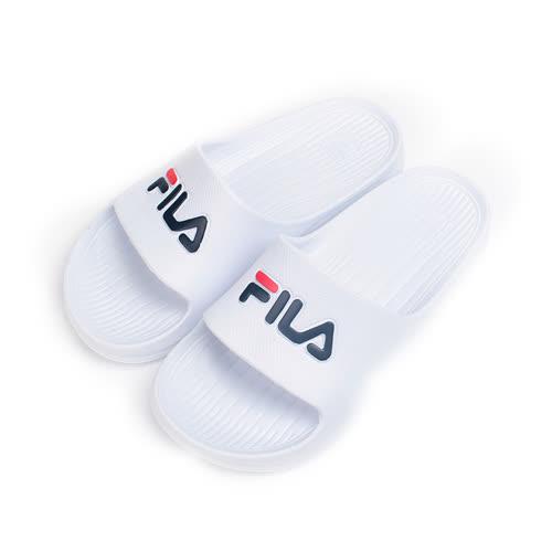 (女) FILA 一體成型套式拖鞋 白 S355Q 女鞋 鞋全家福