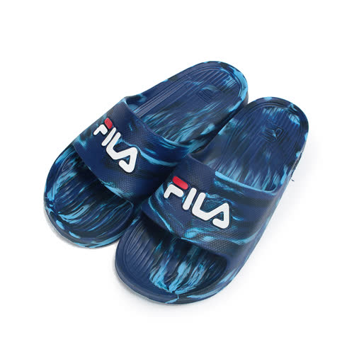 (男) FILA 一體成型套式拖鞋 藍 S355R 男鞋 鞋全家福