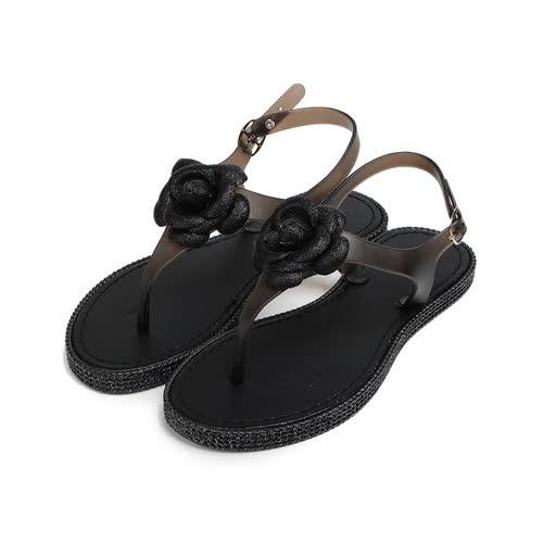 (女) RED ANT 小香風淑女防水夾腳涼鞋 黑 女鞋 鞋全家福