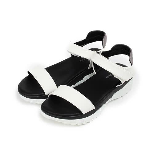 (女) YOUNG COLOR 仿皮厚底休閒涼鞋 白 女鞋 鞋全家福