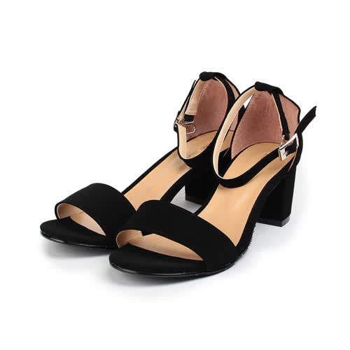 (女) YOUNG COLOR 素雅絨布粗跟淑女涼鞋 黑絨 女鞋 鞋全家福